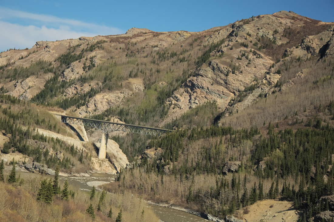 When the world around you turns to rock you'll be paralleling the Nenana River which has carved out quite a nice looking little valley for itself.