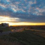 Sunrise over UAF fields and Butrovich building