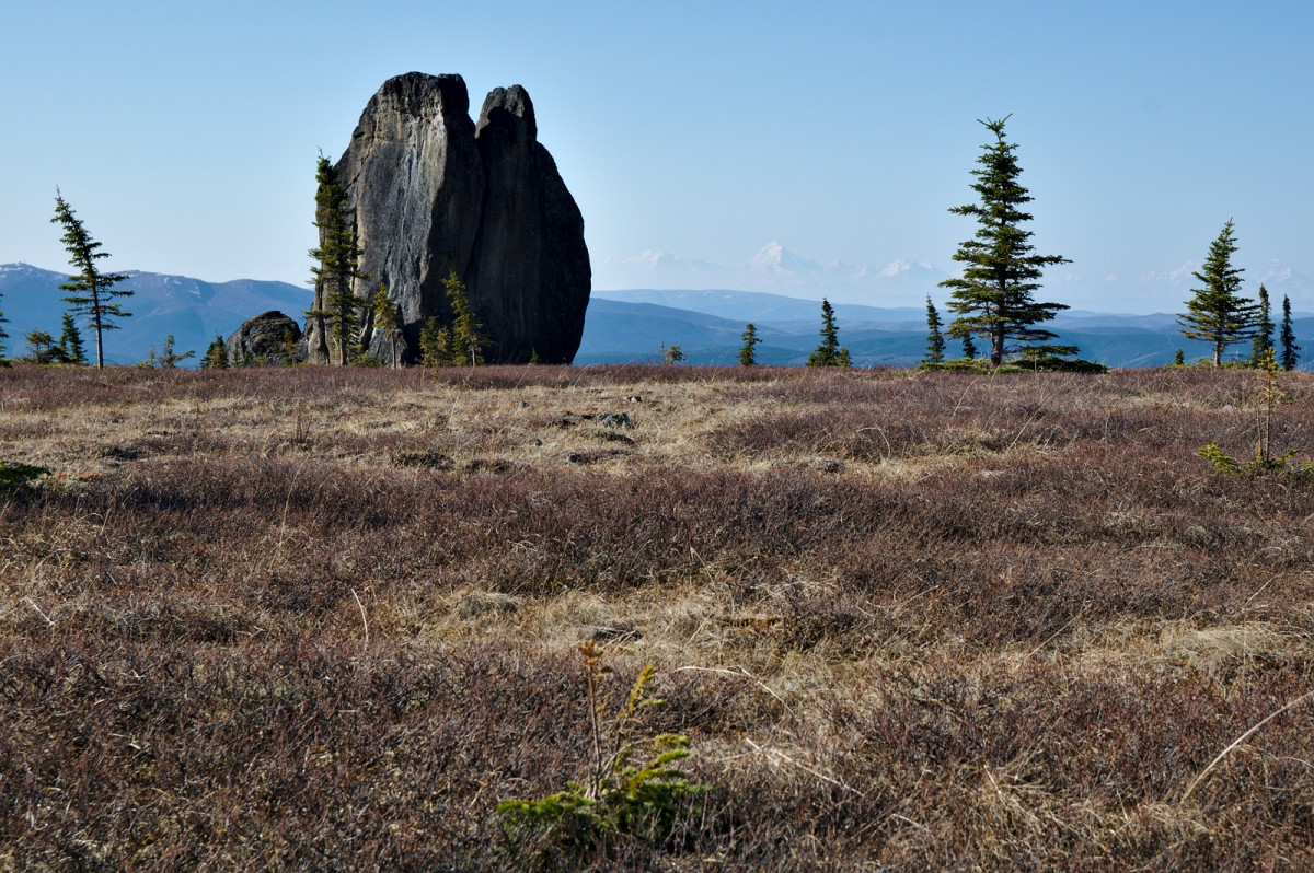 The daylight view of the Asgard Tor with Mt. Hayes of the Alaska Range in the distance.