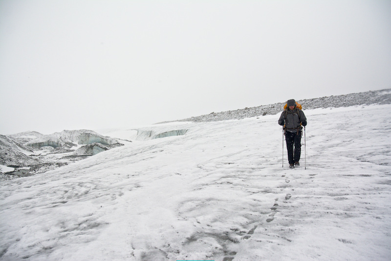 Hiking on the Canwell Glacier in snow.