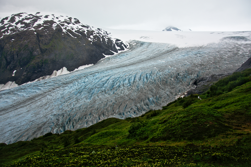 Looking down on Exit Glacier from the Harding Icefield Trail.