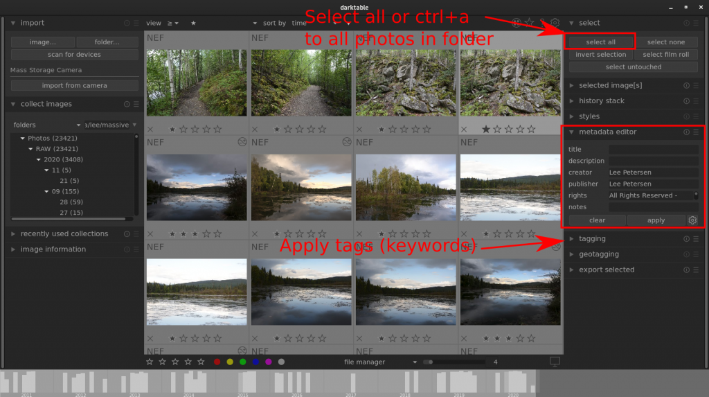 Using lightroom in darktable to apply metadata and tags to photos