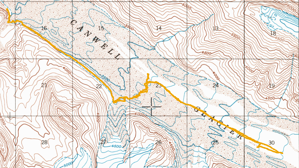 Topo map with hiking route on the Canwell Glacier in the Alaska Range