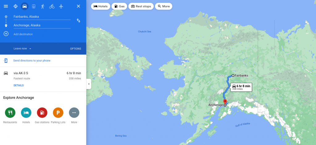 map of Alaska with drive between anchorage and fairbanks